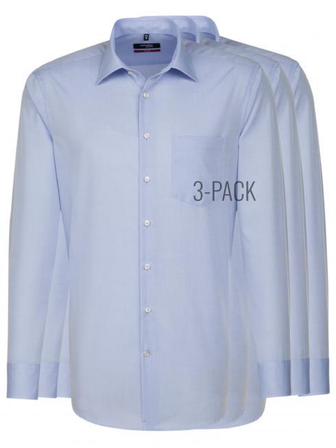 Seidensticker 3-Pack Hemd Regular Fit Kent light blue