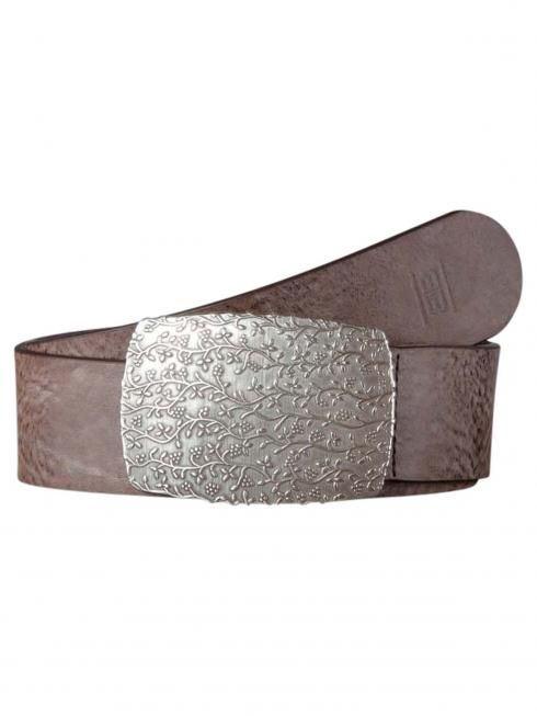 Claudette Silver darkbrown 45mm by BASIC BELTS