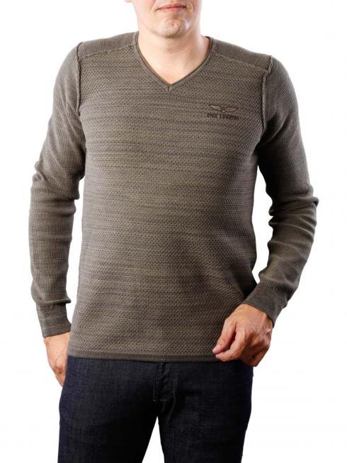 PME Legend V-Neck Cotton mouline dark grey