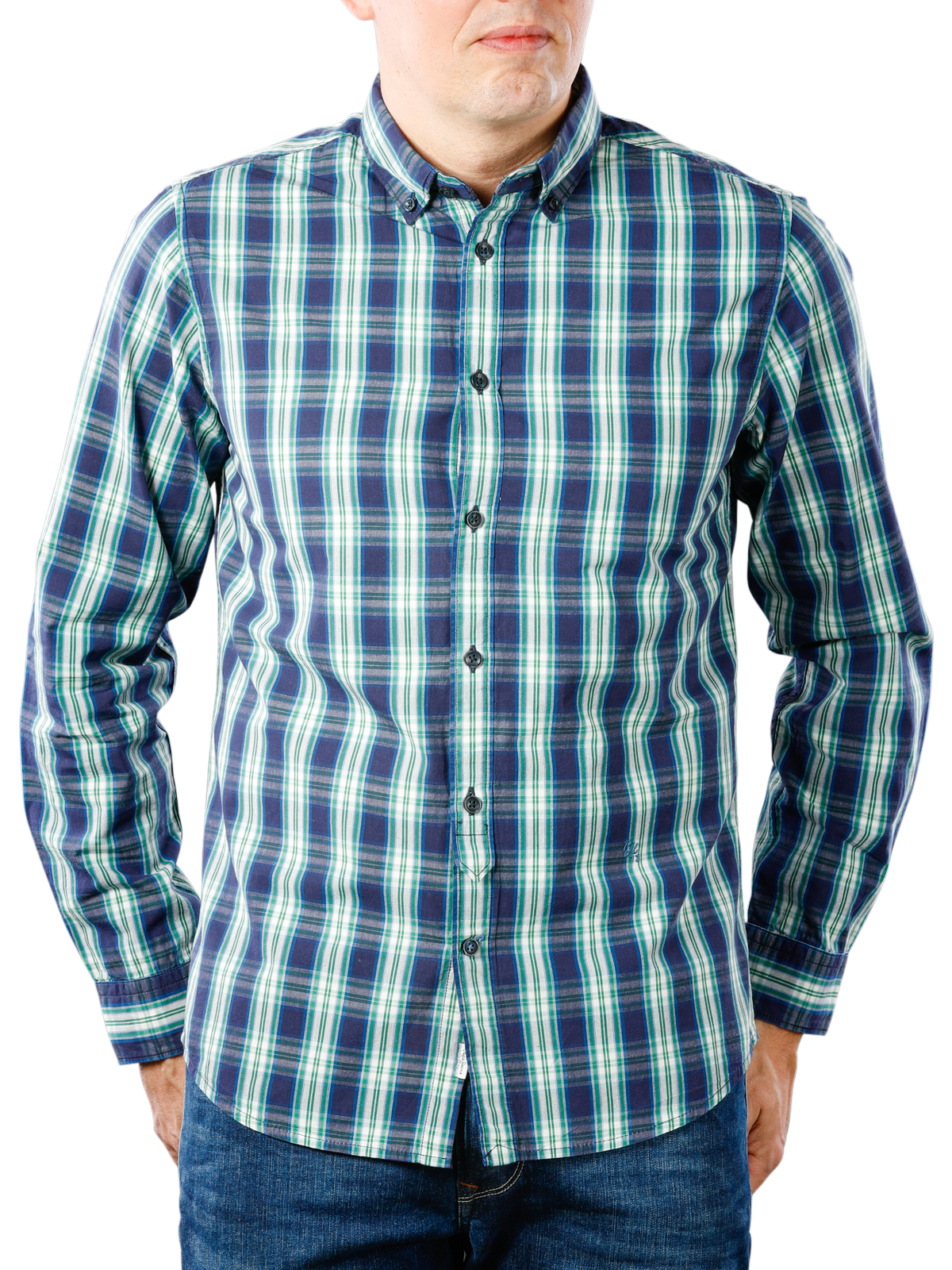 Mcjeans Ch Fast Delivery Pepe Jeans Chandler Compact Poplin Check Shirt Blueing Free Shipping Free Returns
